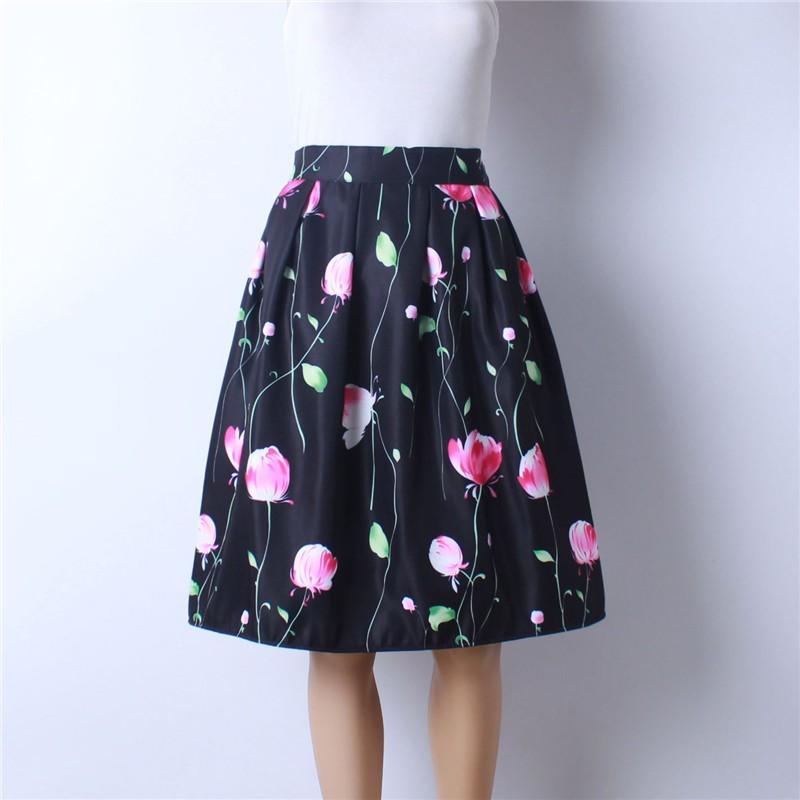 HTB1xkuWMpXXXXXzXXXXq6xXFXXXu - GOKIC 2017 Summer Women Vintage Retro Satin Floral Pleated Skirts Audrey Hepburn Style High Waist A-Line tutu Midi Skirt