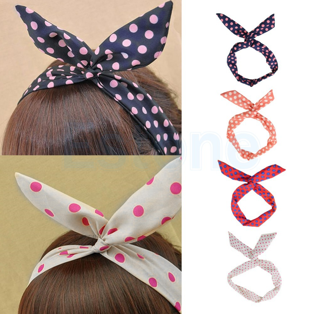 Lovely Dot Rabbit Bunny Ear Ribbon Metal Wire Headband Scarf Hair Bow Head Band(China (Mainland))