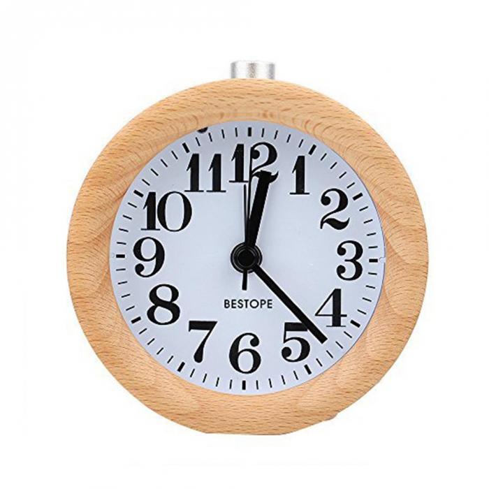 Горячая продажа маленький будильник с ночным светом деревянный классический
