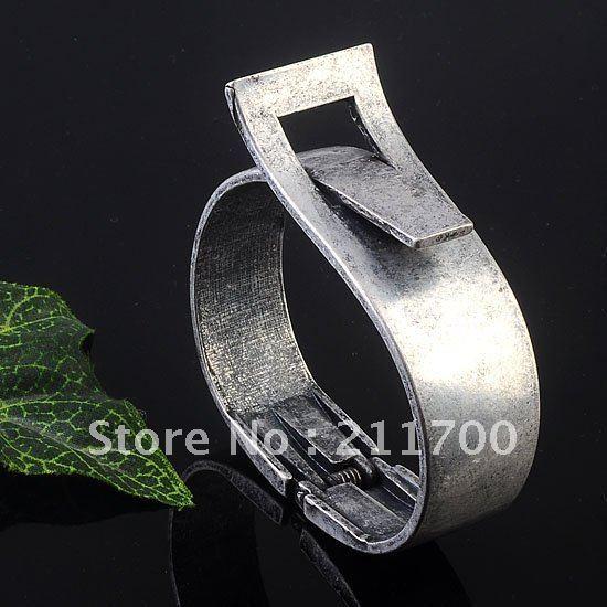 Free shipping 1PC Antique Silver Korean Belt Style Hinged Bracelet Bangle Punk Cool Jewelry