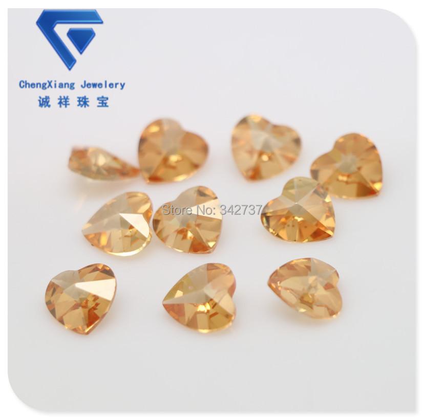Light champagne double sides caboshon heart shape cubic zirconia lab-created gemstone /diy cz stone(China (Mainland))