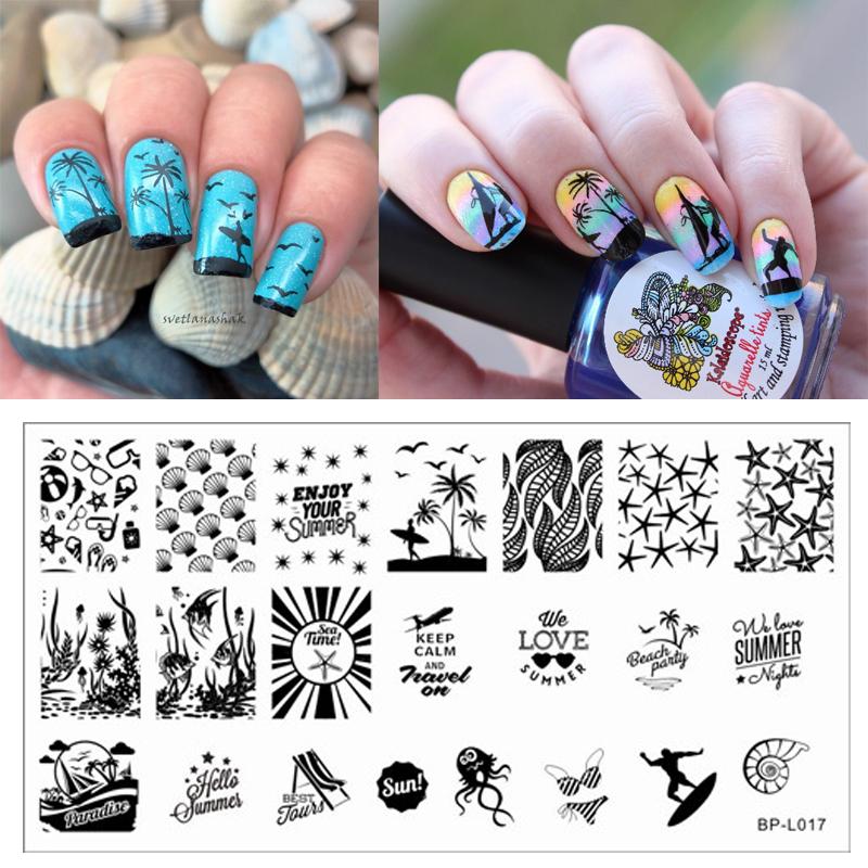 Summer Beach Sea Nail Art Stamp Template Image Plate BORN PRETTY BP-L017(China (Mainland))