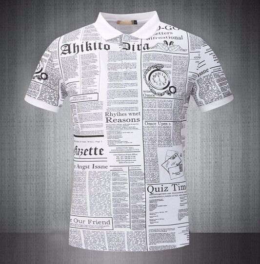 summer style newspaper print t shit man personality short