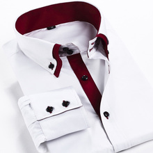 2014 new Men's clothing Brand long sleeve dress shirt men Double layer collar casual business shirts for men 5 color big size