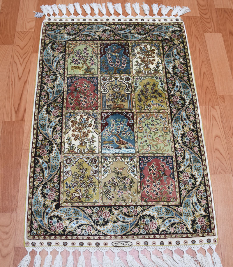 61cmx91cm,2ftx3ft ,230lines chinese 100% handknotted spun silk carpet/rugs 2016 top popular colour matching garden design(China (Mainland))