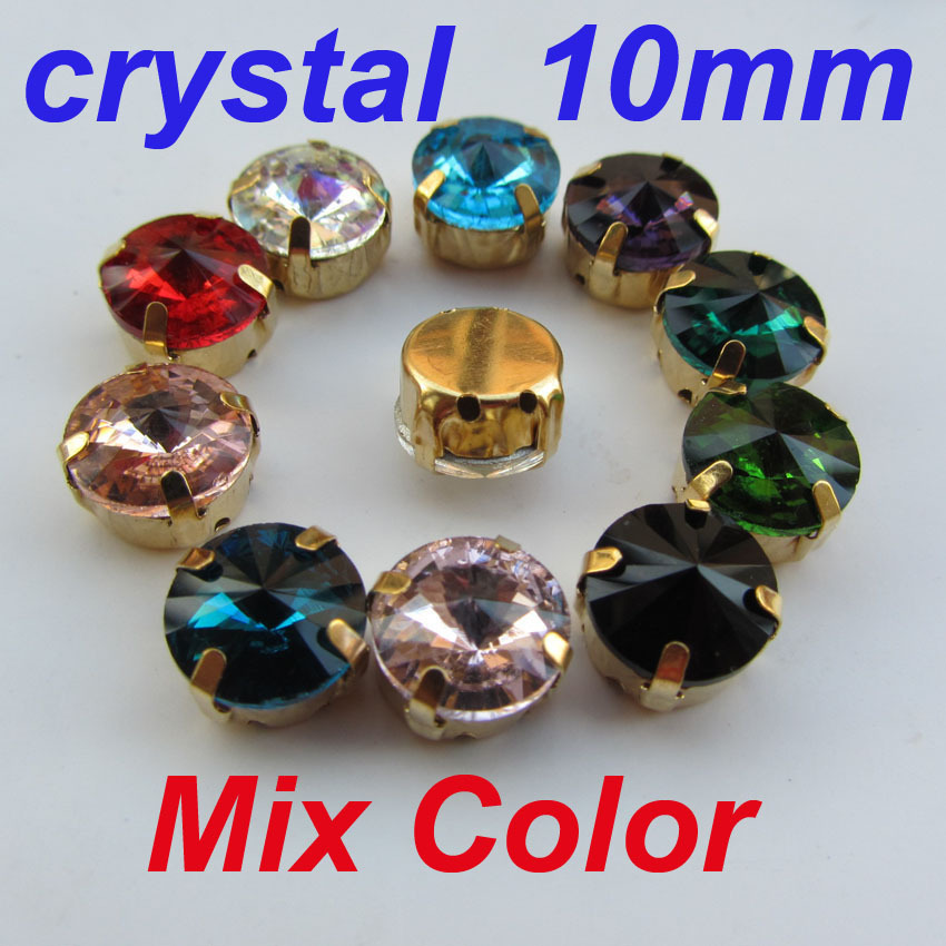 Mix Color Crystal Rhinestones 10 10mm Round Glass Metal Claw Settings 4 Holes Sewing Garment - Yiwu XinZun Accessories store