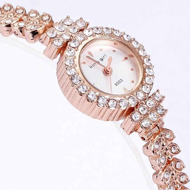 В 2015, Самый популярный мода роуз браслет горный хрусталь кристалл кварцевые часы леди часы круглый женская мода часы