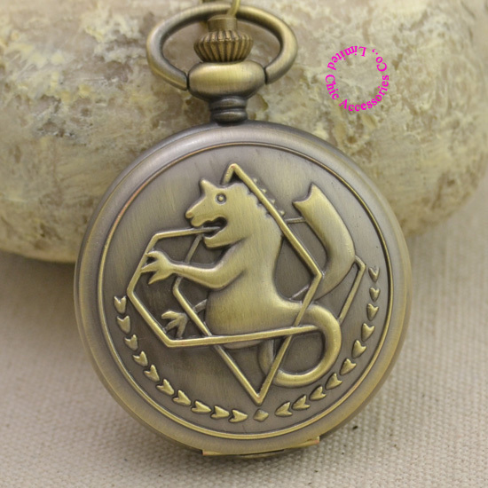 Fullmetal Alchemist Pocket Watch necklace women Cosplay Edward Elric Chain Anime Boys Gift New bronze color girl watches - Chic Watches store