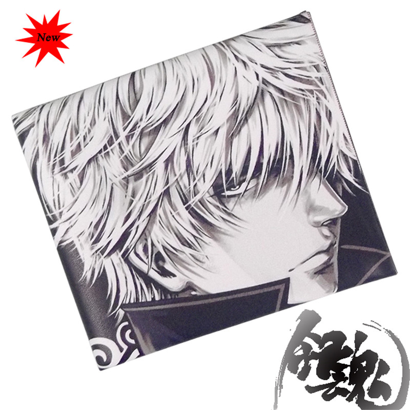 High Quality Gintama Cosplay Men's PU Leather Thin Wallets Short Card Holders Purse Gift Free Shipping(China (Mainland))