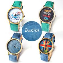 Precio más bajo Unisex con estilo del cuarzo relojes hombres relojes deportivos de tela de mezclilla mujeres viste el reloj de pulsera relogio masculino