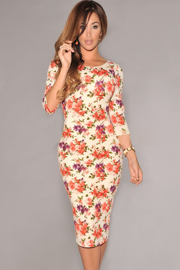 2016 New autumn Fashion Women Celeb Bodycon Dress Cream V Back Half Sleeves Floral Print Midi Dresses Ladies Casual Vestidos - sexy-baby Co.,Ltd store