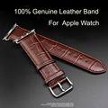100 Crocodile Grain Genuine Leather Watch Band Connector Adapter Strap For 42mm 38mm Apple Watch Band