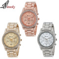 Lovesky 2016 New Fashion Faux Chronograph Plated Classic Geneva Quartz Ladies Watch Women Crystals Wristwatches Relogio