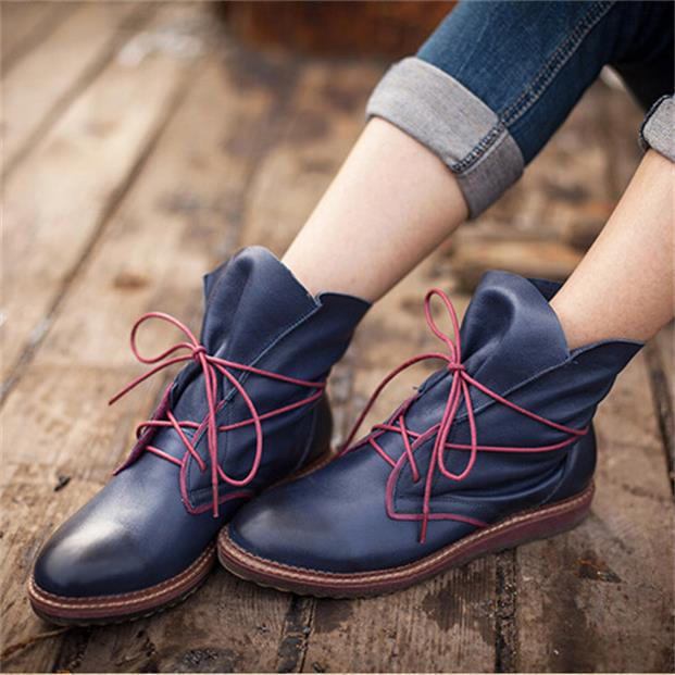 Womens shoes autumn genuine leather handmade shoes vintage cowhide boots flat lacing single boots free shipping<br><br>Aliexpress