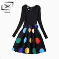 Winter Dress Girls 2016 Prom Dresses Girl Clothes Printing Slim Round Neck Long sleeved Dress Vestido