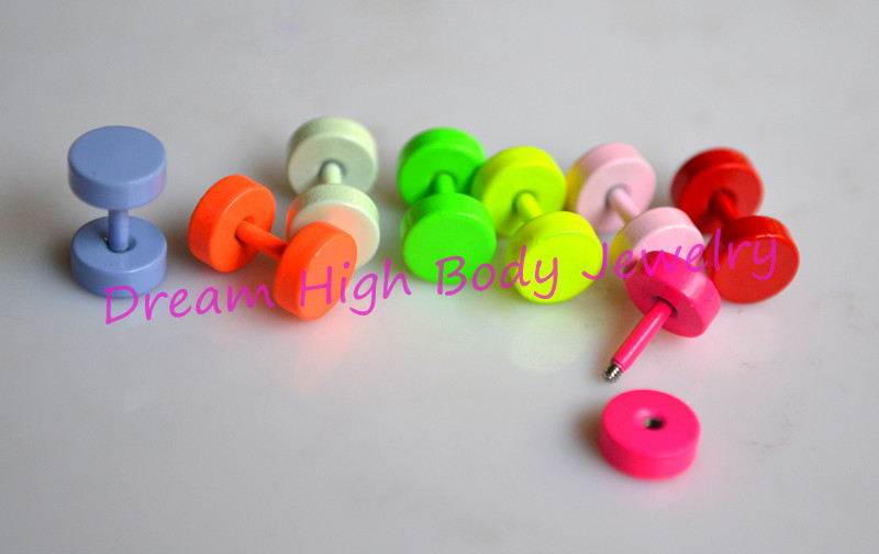 Neon earrings Fake Ear Plug Cute Ear stud  colourful Fashion Body Piercing jewelry 6mm Candy Korea 1.2mm bar baking finish  Bone<br><br>Aliexpress