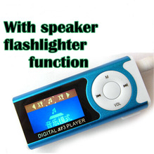 AAA+ MP3 player 1.1 inch LCD with speaker and flashlight function with clip mp3+ earphone+usb cable cord 5pcs per lot(China (Mainland))