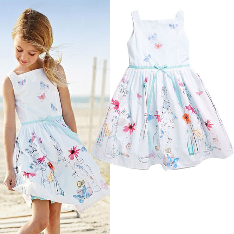 2016 NEW Baby Girls Kids Princess Flower Sleeveless Summer Gown Fancy Dresses 1-7Y(China (Mainland))