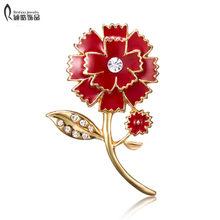 Merah Bunga Keranjang Kristal Antik Carnation Bunga Bros untuk Wanita Bridesmaid Bouquet Bros Pin Hadiah Hari Ibu(China)