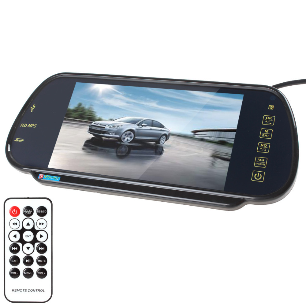 Гаджет  7 Inch LCD Bluetooth MP5 car rearview rear view mirror monitor reverse parking monitor SD USB for DVD VCD camera None Автомобили и Мотоциклы