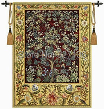 William morris tree of life Red Medium 140*107cm wall hanging tapestry antique decorative picture aubusson home textile(China (Mainland))