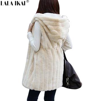 Женщины искусственного меха пальто с капюшоном меховой жилет Большой размер мех верхняя одежда XXL длинный мех желеты SWQ020-5