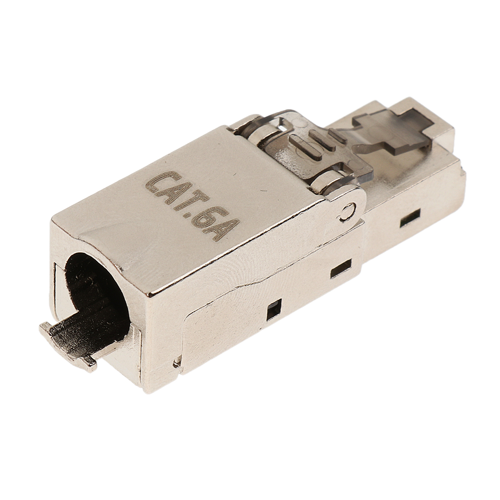 CAT6A RJ45 Termination Plug Network Connector Modular Plugs Shielded Connectors Ethernet Cable Adapter Metal Shielded Shell