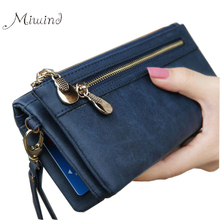 Buy Scrub Leather 2017 Women Wallet Double Zipper Female Clutch Purse Wristlet Coin Credit Card Holder Handbags Trifold Slim Cuzdan for $7.17 in AliExpress store