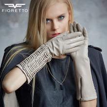 Fioretto Handmade Fashion Womens Winter Long Gloves Classic Glove Goat Women Lambskin Thin Lined Pary Accessories F15538