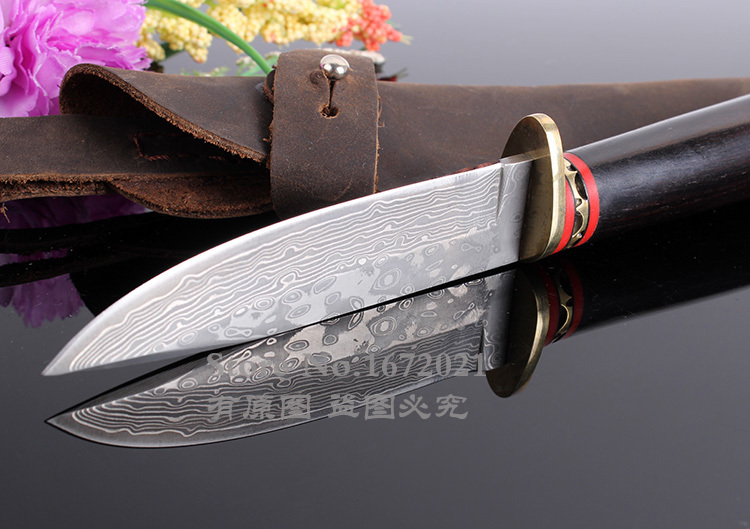 VG10 Damascus steel fixed hunting knife natural ebony handle outdoor survival knife tactical tool send leather