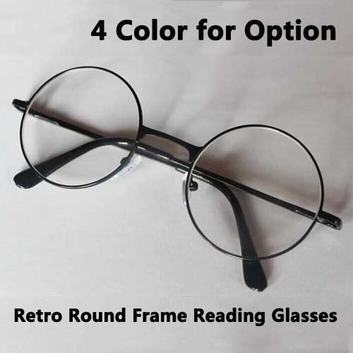 Large Frame Retro Reading Glasses : Fashion Vintage Round Frame Reading Glasses Metal Alloy ...