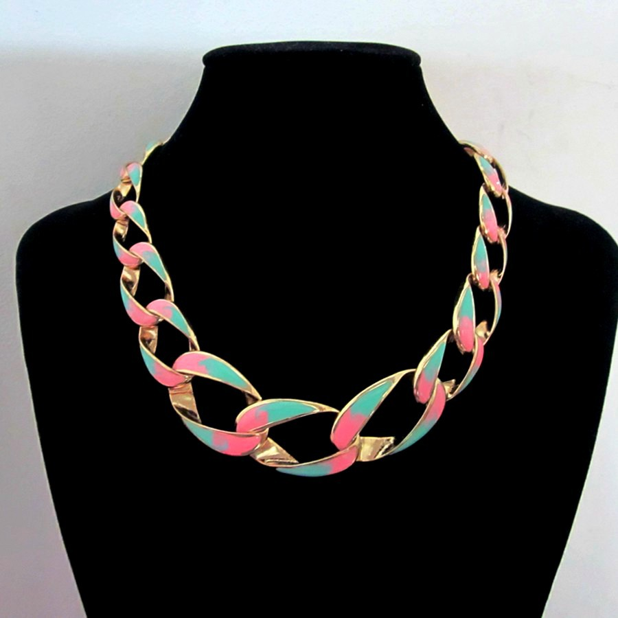 fashion women jewelry accessories big thick gold plated metal chain colorful enamel necklaces - Xinlan Jewelry store