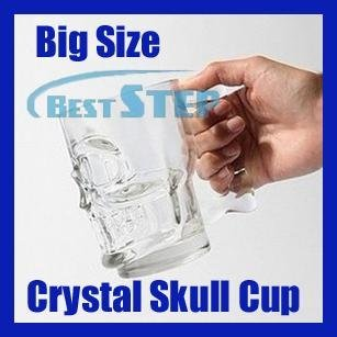 Free Shipping Retail Latest New Arrival 500ml Big Size Crystal Glassware Skull Coffee Cup/ Skull Beer Cup Funny Great Gift