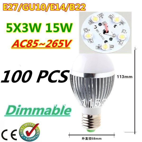 100pcs/lot Retail Dimmable Bubble Ball Bulb AC85-265V 15W E14 E27 B22 GU10 High power Globe light LED Light Free DHL and FEDEX