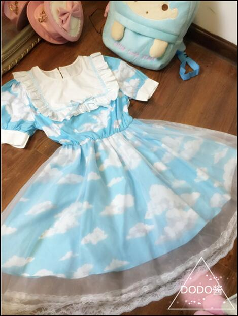 European Style England Sweet Lovely Clouds Print Princess Dress Lolita Lace Mini Dress For girl 2016 Hottest College gauze Dress(China (Mainland))