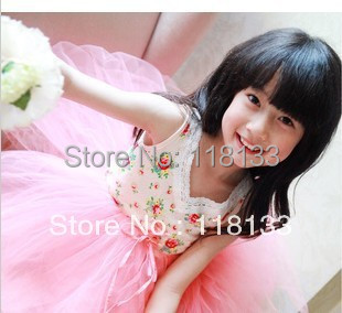 Wholesale -hot sell new girl's Floral Cotton  layer yarn super beautiful princess vest dress children's clothes Y AUG3