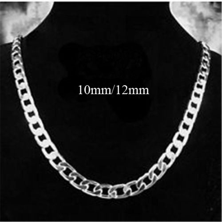 Fashion 925 Sterling Silver 10MM 12MM Solid Flat Men Chain Necklace Jewelry