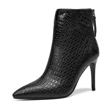 ENMAYER Women ankle boots women pointed toe thin heel zipper ankle boots sheep skin comfortable boors Size 34-39 ZYL1091(China)