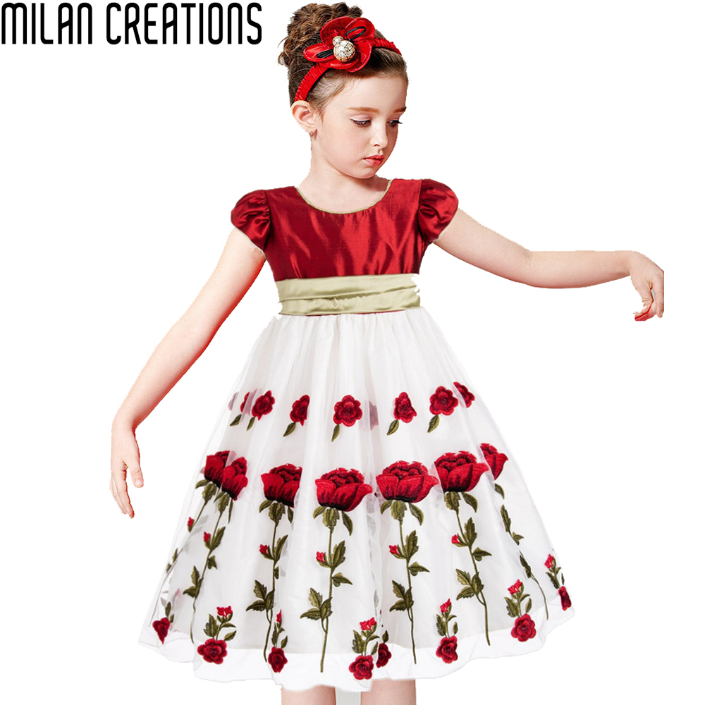 Girls Party Dresses Wedding 2016 Brand Baby Girls Dress Kids Clothes Rose Flower Children Clothing Princess Dress with Big Bow(China (Mainland))