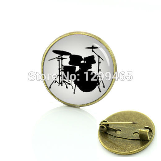 Musical instrument Stylish Gift creative badge drum set silhouette brooches Popular unisex Musician Luxury Pins C 917(China (Mainland))