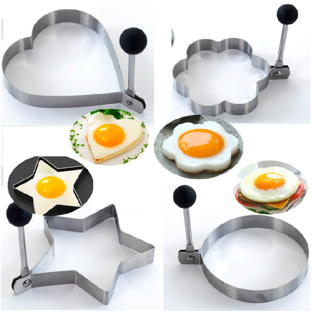 New arrival happy kitchen 4pcs/set egg mold/mould cutter kitchenware DIY egg tool set kid health meal stainless steel food grade