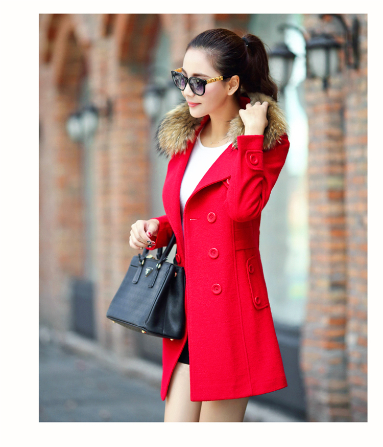 2014 korean style womens coat long red fur collar warm winterr freeshipping - Amery's finca store