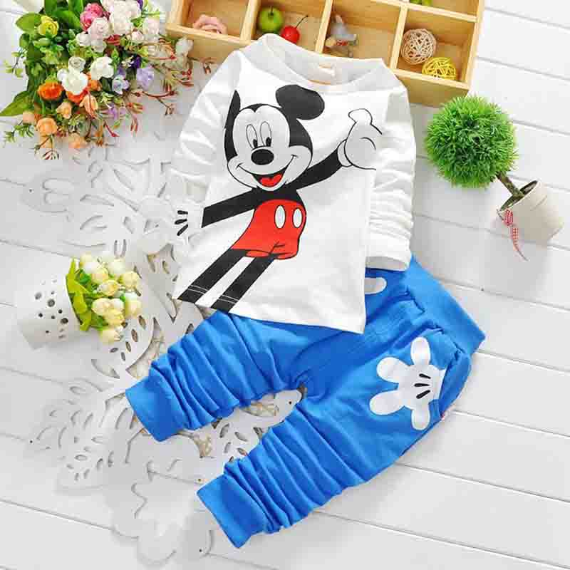 Baby Boy's Mickey Clothing Set Causal Children Long Sleeve Home Suit Kids Toddler Cotton T-shirt+Pants Outerwear Red Black Blue(China (Mainland))