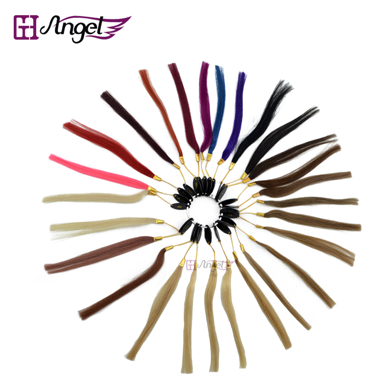 6pcs 27 colors 100% Asian Human Hair Color Ring/Color Chart Swatch Rings for Remy Hair Extensions/color design