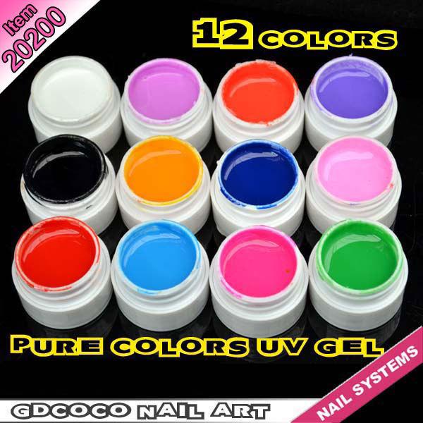 #20200 GDCOCO Professional Nail Art Design Soak Off 12 Colors Pure Color UV Gel Kit(China (Mainland))