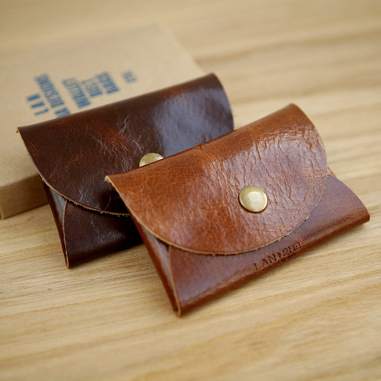LAN Free Shipping genuine leather Hasp coin purses credit card case slim card case small pocket