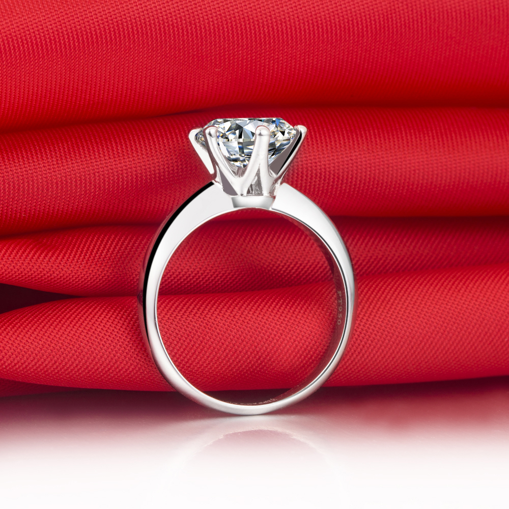 Factory Directly Sale affordable Price Hot Sale Classic Design Six Claw 2 Carat NSCD Synthetic Diamond Women Ring(China (Mainland))