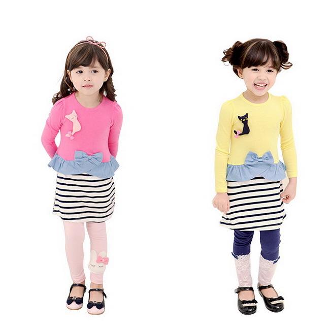 selling children clothing striped print mini dress 100