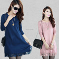 Good Quality 2016 New autumn thick dress women casual slim lace dress winter long sleeved solid