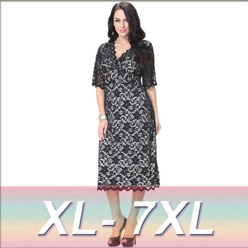 2016 Womens Summer Elegant Lace Sundress Ladies Sexy Maxi Long Black Party Dress Plus Size 6XL 7XL Vestidos 6012(China (Mainland))